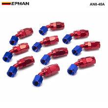 10 шт./компл. AN8 45 градусов Алюминиевый шарнир масла и топлива/Air/ленты для газопроводов из фторопласта(штуцер для шланга синий AN8-45A