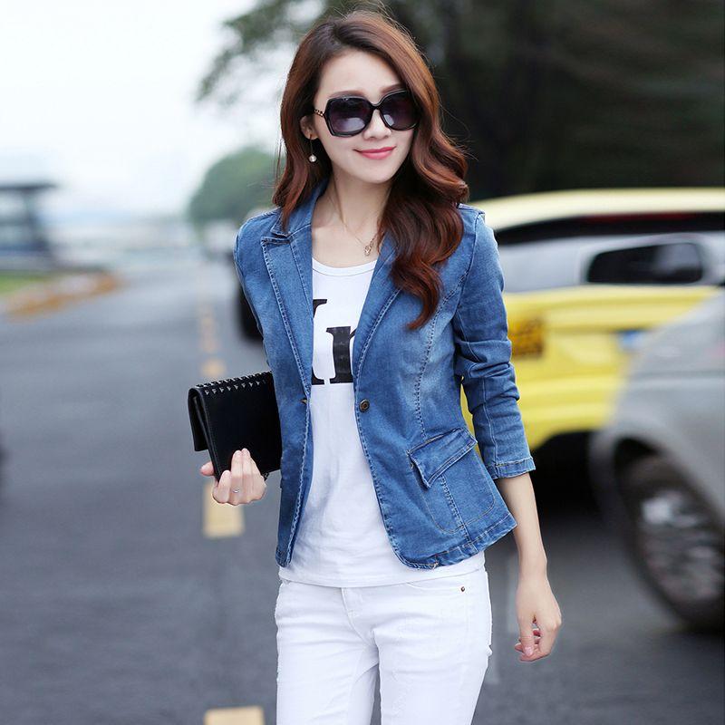One Button Blue Denim Blazers 2017 spring and autumn Femme Fashion Slim Short <font><b>jeans</b></font> Jacket denim outerwear For Womens G033102