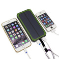 10000mAh Travel Waterproof Solar Power Bank Dual USB External Battery Solar Charger Powerbank for Iphone 6s With LED Camp Light