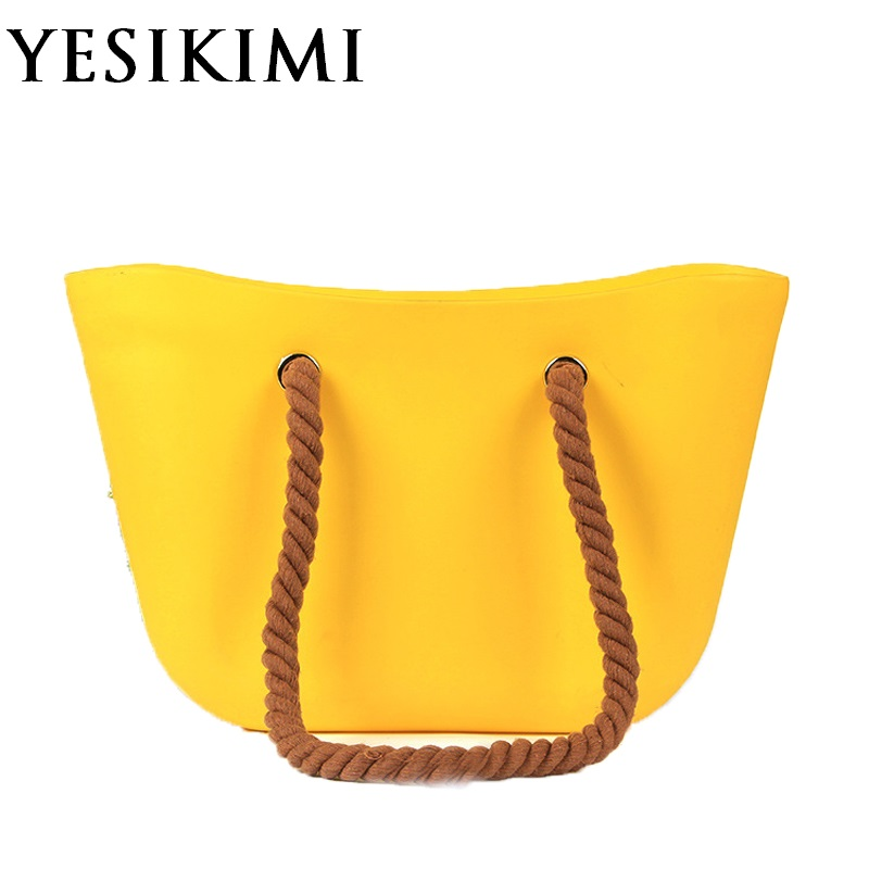 YESIKIMI Women Silicone Bag Casual Tote Beach Purses Candy Color Silica Gel Handbag With Rope Handle
