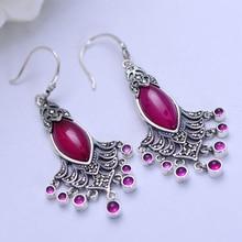 MetJakt Natural Red Corundum Earrings Insert Zircon Solid 925 Sterling Silver Earring for  Women's Wedding Party Luxury Jewelry