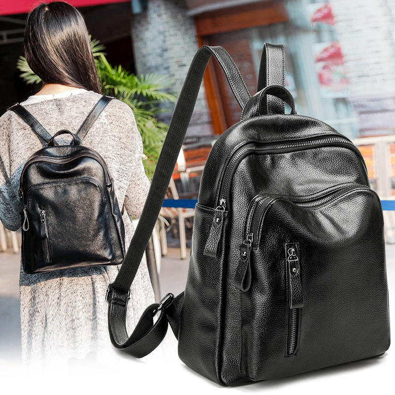 2017 New women s backpacks leather fashion casual daypacks bags girl traveling backpack computer bag