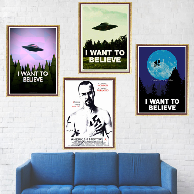 Classic Movie X FILES Poster I WANT TO BELIEVE Coated Paper Wall WallPaper Home Decor