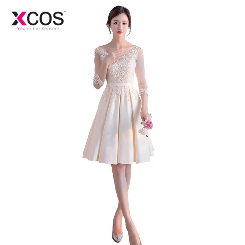 XCOS New Arrival Champagne   Bridesmaid     Dress   Short Half Sleeve Lace Satin Brautjungfernkleid Wedding Guest   Dress   for Party 2018