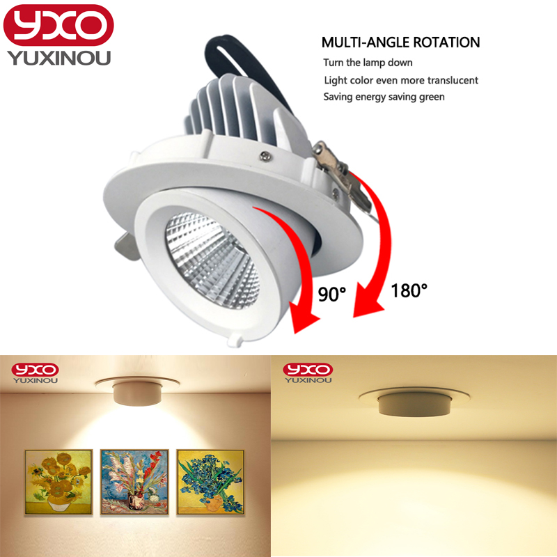 1pcs Dimmable LED Trunk Downlight COB Ceiling 10W 15W 30W AC85-265V Adjustable recessed led Indoor Light cob led downlight free shipping high quality 30w cree cob chip led down light embedded led trunk lamps lighting with led driver ac85 265v