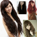 4 Colors Women Corn Perm Fluffy Long Curly Hair Wig Oblique Bangs Wig  88