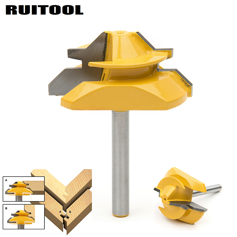 1/4'' Shank Lock Miter Router Bits 45 Degree Tenon Wood Cutter For Woodworking Milling Cutters Drilling Power Tools high grade carbide alloy 1 2 shank 2 1 4 dia bottom cleaning router bit woodworking milling cutter for mdf wood 55mm mayitr