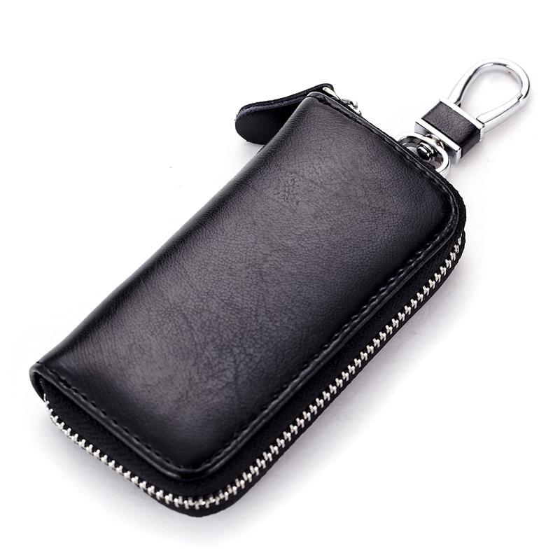 Genuine Leather Key Wallet Men & Women Car Key Bag Multi Function Key Case Fashion Ladies Housekeeper Key Holders 6 Rings QB19