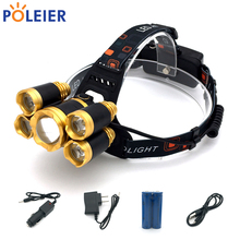10000 Lumens LED Head Torch Headlamp 1*T6+4*XPE  Frontal Light Torch Cree yellow Headlight Waterproof 18650 Rechargeable Battery