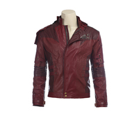 ManLuYunXiao Guardians Of The Galaxy Cosplay Costume Star Lord Guard Leader Short Jacket PU Leather Halloween