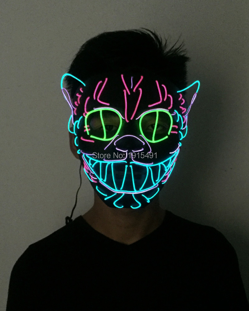 50Pcs Top Selling Mardis Gras Colorful EL Rope Masque Wedding Mask Fluorescent Dance Props Led Strip Party Cheer Mask with Drive