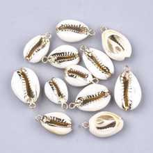 50pcs Electroplate Cowrie Shell Pendants for DIY Jewelry Making Necklace Bracelet Earring DIY Jewelry Accessories Charms F60