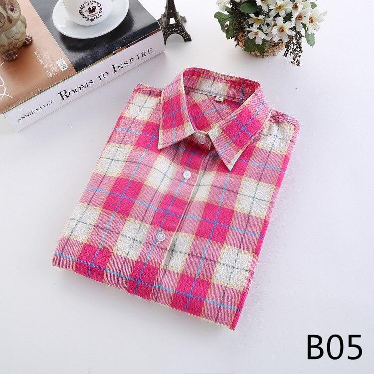 2018 Fashion Plaid Shirt Female College Style Women's Blouses Long Sleeve Flannel Shirt Plus Size Casual Blouses Shirts M-5XL 10