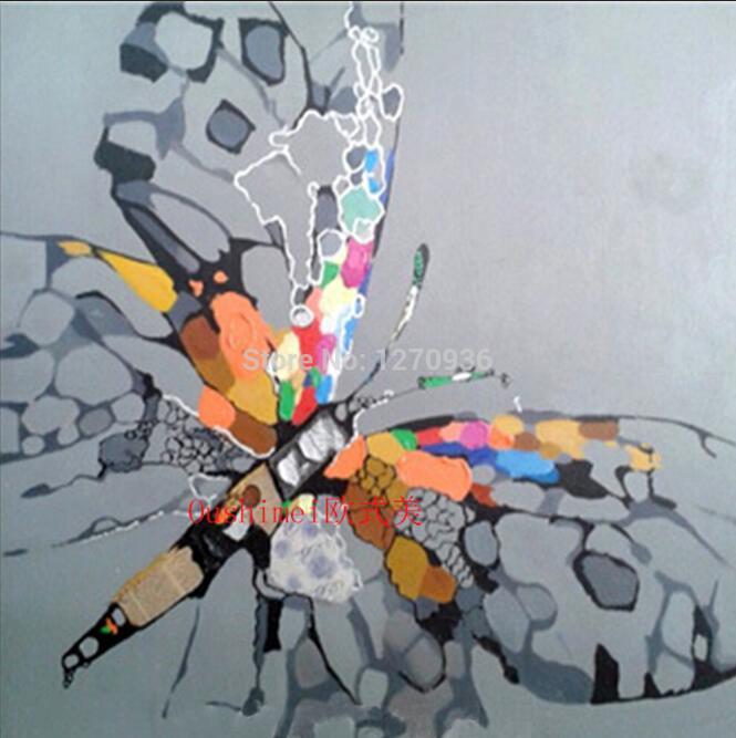 Ручная работа абстрактные животные играть фортепиано лягушка картина для комнаты настенный Декор ПЭТ индивидуальная покраска на холсте бульдог крокодил - Цвет: Butterfly