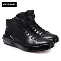 England Style Top Quality Brand Mens Genuine Leather Pigskin Lace Up Fashion Breathable High Top Thick