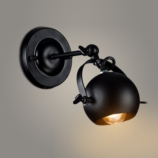 Vintage Wall Light Rotatable Spot Lamp Black Wrought Iron Mounted Background Swing