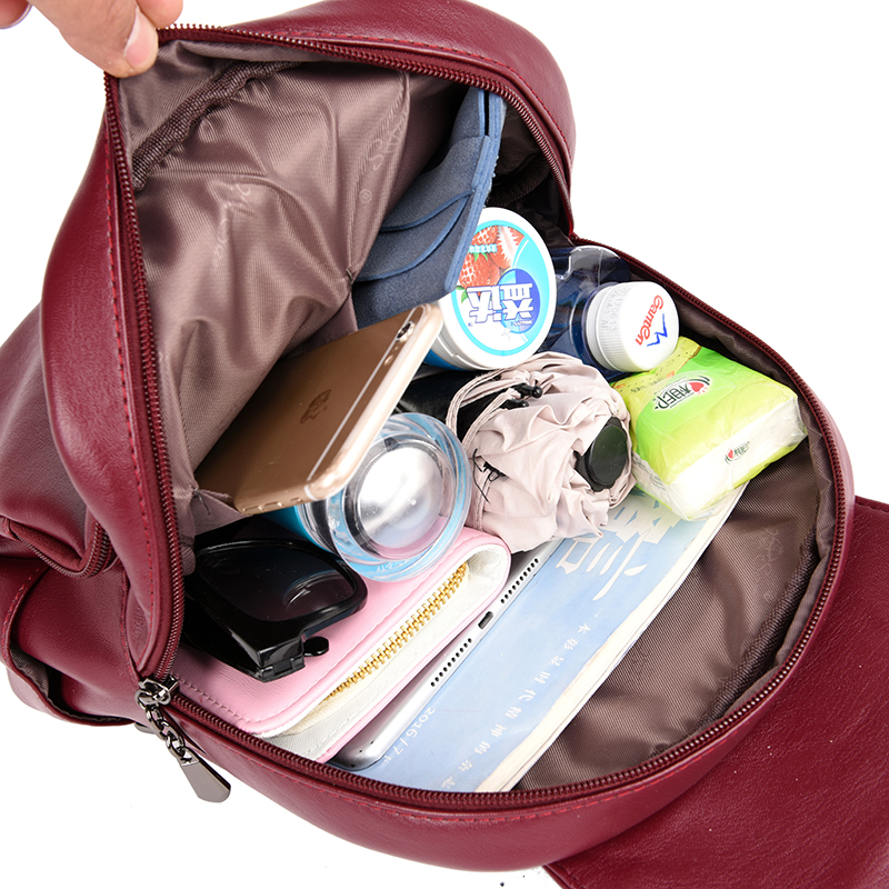 Casual Double Zipper Backpack Female Large Capacity School Bag For Girl Brand Leather Shoulder Bag For Women Lady's Bag #5