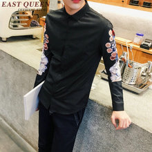 New Autumn Chinese male clothing traditional Chinese clothes men beijing opera print social shirt with long sleeves KK419 Q