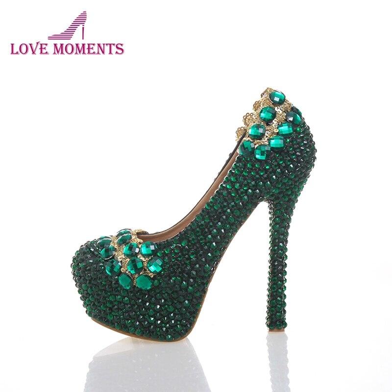 2018 New Designer Green Color Party Prom Bridal Wedding Handmake Shoes Rhinestone Stiletto Round Toe Women