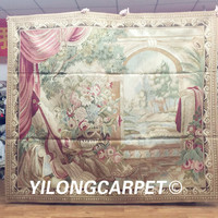Yilong 5.2'x6' Gobelin picture tapestry handmade wool aubusson floor tapestry rug (Au37 5.2x6)
