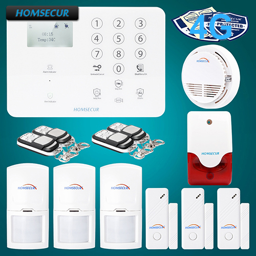 HOMSECUR Wireless&wired 4G SMS Autodial LCD Burglar Alarm System+Touch Panel GA01-4G-W 2 4g wired