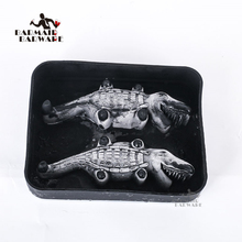 Hot Sales Halloween Flexible 3D Crocodile Silicone Ice Cube Mold Tray Makes Four Giant Cayman Maker Black