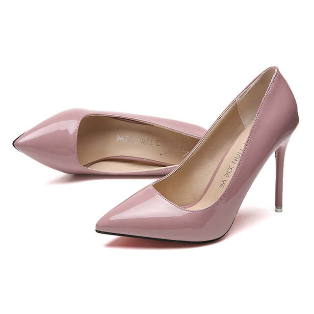 2019 HOT Women Shoes Pointed Toe Pumps Patent Leather Dress  High Heels Boat Shoes Wedding Shoes Zapatos Mujer Blue White 26