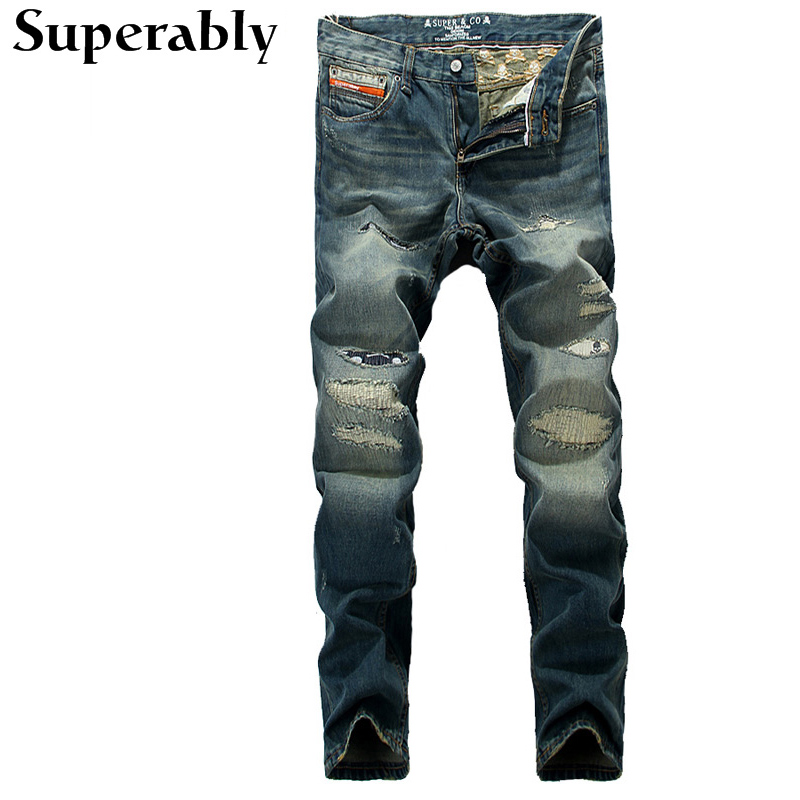 ФОТО Dark Blue Color Denim Classic Mens Pants Fashion Men Jeans High Quality Superably Brand Stripe Jeans Men Destroyed Ripped Jeans