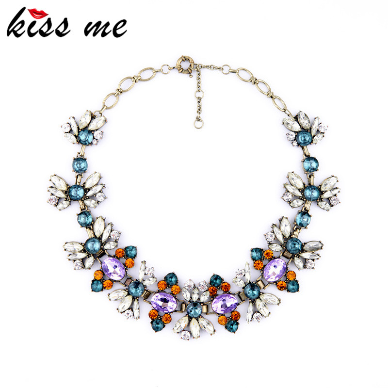 KISS ME Fashion Accessories Vintage Luxurious Crystal Short Design Necklace Christmas Gifts цена