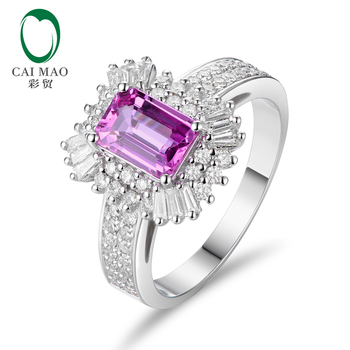 Caimao 1.12ct 핑크 사파이어 및 0.76ct 라운드 컷 다이아몬드 14 k/au585 화이트 골드 약혼 반지
