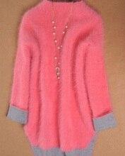 Autumn and winter loose pullover sweater female thickening medium-long turtleneck marten velvet outerwear