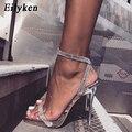 Женские сандалии Eilyken  серебристые  с блестящими стразами  на высоком каблуке  с пряжкой  на ремешке