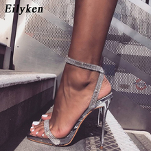 Eilyken Silver Bling Crystal Sexy Women Sandals High Heels Buckle Strap Gladiator Women Sandals Stiletto Wedding Rhine Stone
