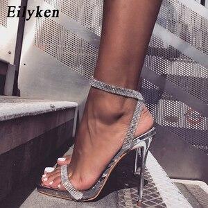Image 1 - Eilyken Silver Bling Crystal sandali da donna Sexy tacchi alti cinturino con fibbia gladiatore sandali da donna Stiletto matrimonio pietra del reno