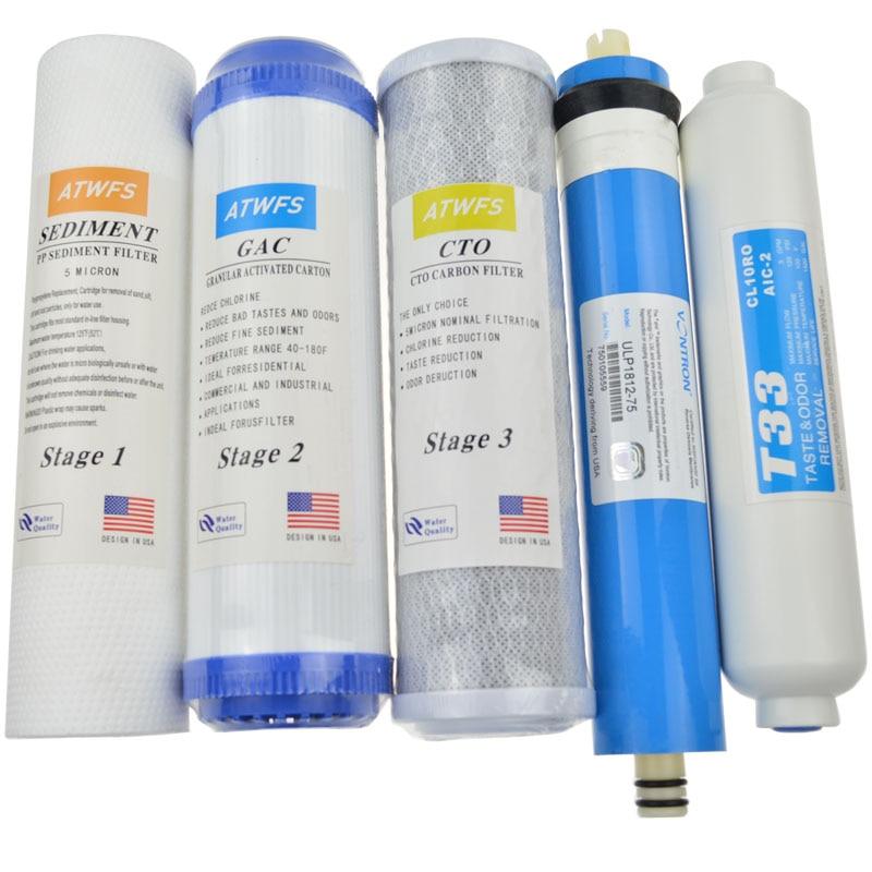 ATWFS 5 Stage Filter Cartridge Water Purifier 75 gpd RO Membrane Reverse Osmosis Sysyem Water Filters