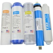 ATWFS 5 Etapa Cartucho de Filtro Purificador de Agua 75 gpd RO Membrana de Ósmosis Inversa Sysyem Filtros De Agua Para El Hogar