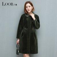Мутон пальто женский пиджак Для женщин куртка пальто с мехом овчины пальто Для женщин зимние куртки с натуральным мехом Для женщин Меховые