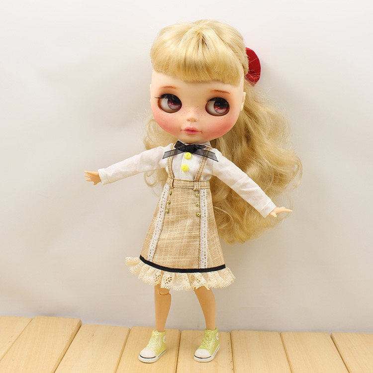 Neo Blythe Doll Strap Overalls Shirt With Bow 5
