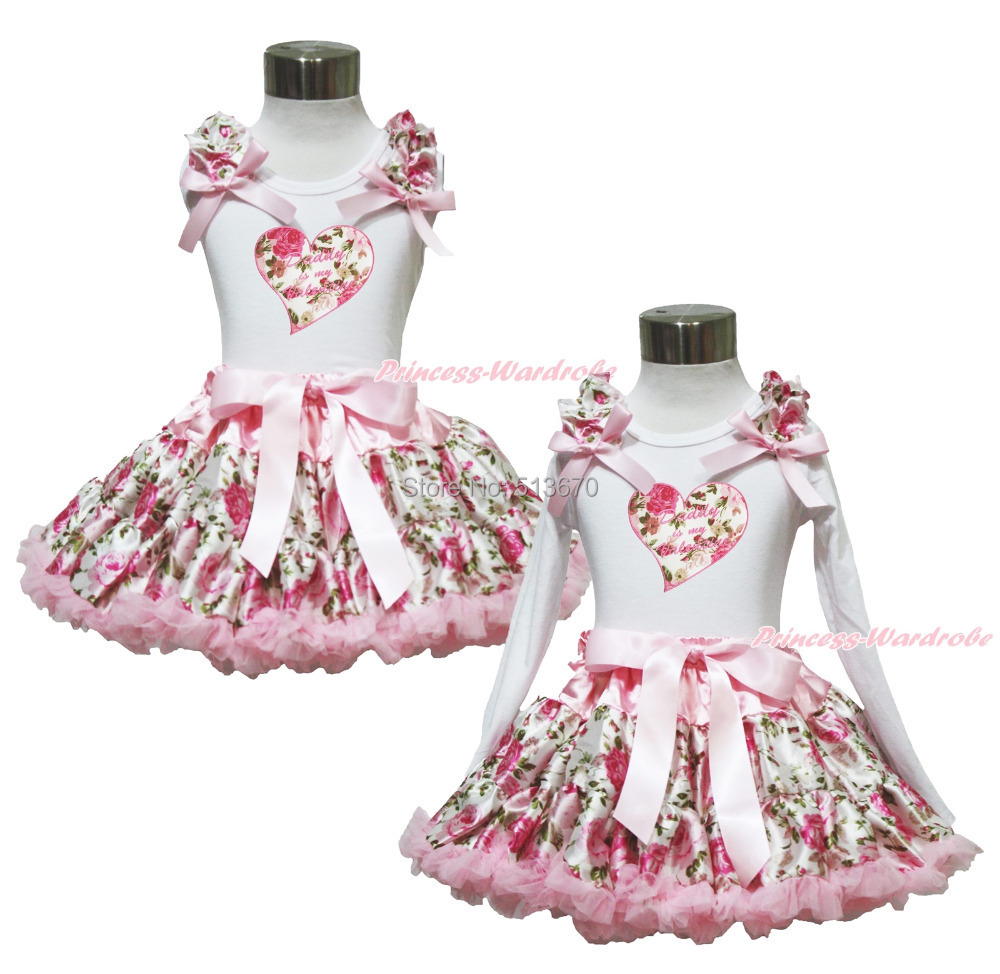 Daddy Is My Valentine Heart White Top Shirt Girl Pettiskirt Outfit 1-8Year MAPSA0362 valentine daddy main squeeze white top pink floral girl skirt outfit set 1 8year