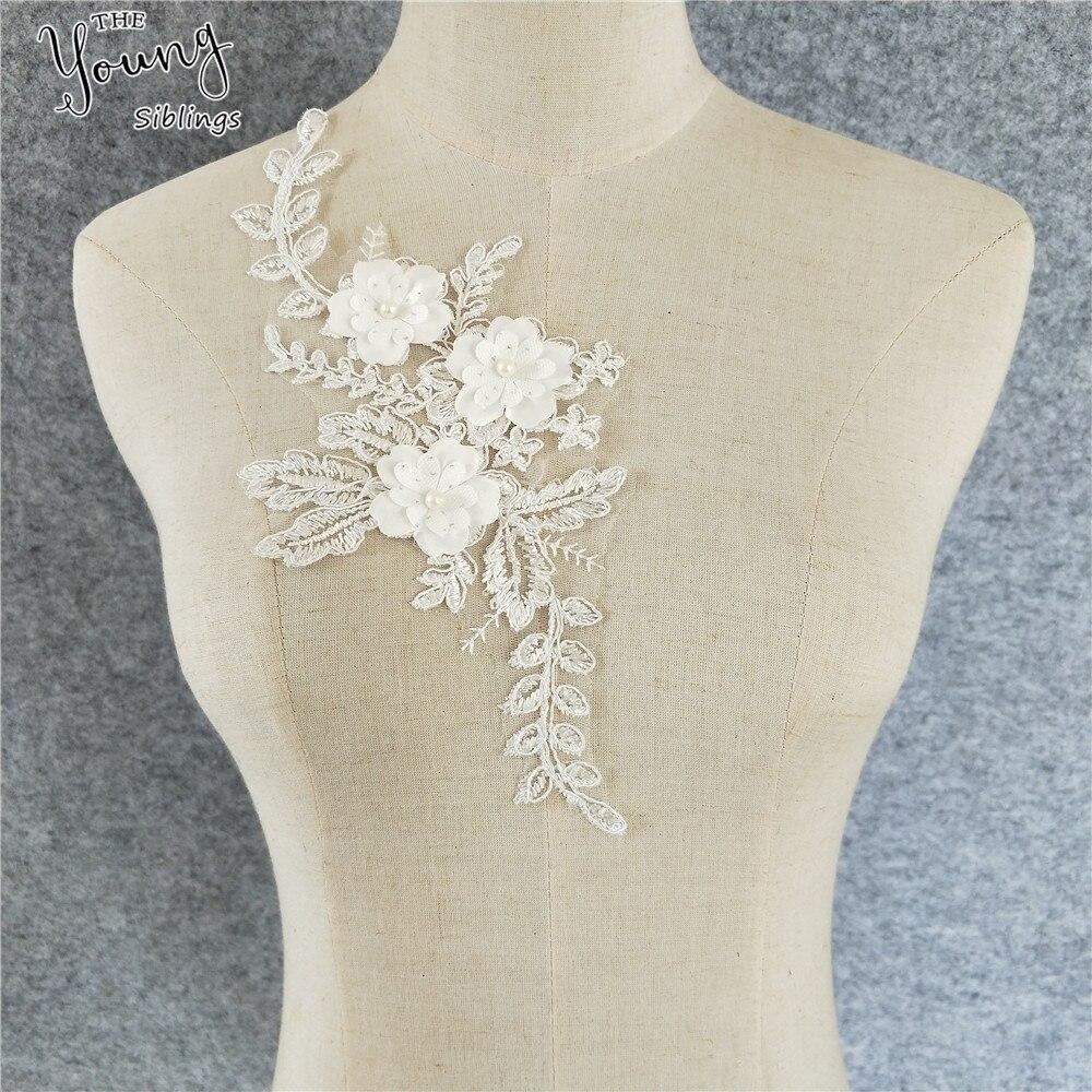 """4pc Exquisite 4/"""" White Rayon Venise Bridal Luxury LACE Dress APPLIQUE Motif Trim"""