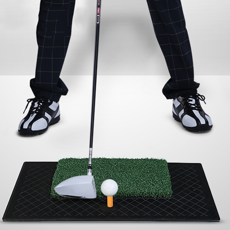 ФОТО Golf Practice Mat 61*34.5cm Portable Indoor Hitting Driving Range Rubber Tee Training Artificial Grass Golf Exercise Mat