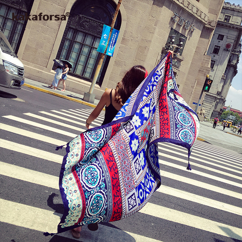 Kakaforsa New Vintage Pareo 2017 Summer Beach Cover Up Rectangle Sarong Wrap Swimsuit Bikini Cover Up Autumn Beach Sarong Mats sweet printed self tie beach cover up for women sarong