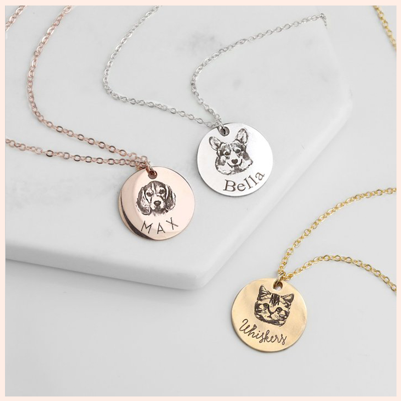 SG 925 sterling silver personalized disc necklace for women People/pet avatar name custom pendant necklace Fashion jewelry gift