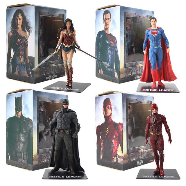 Figura prepintada de la Liga de la justicia de los vengadores, estatua de superhéroes de PVC, Flash Batman, Superman, Wonder Woman, ARTFX, escala 1/10, 18cm