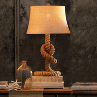 American Countryside Hemp Rope Desk Lamp Retro Table Lamp Bedroom Bedside Lights Vintage Bar Cafe Studyroom