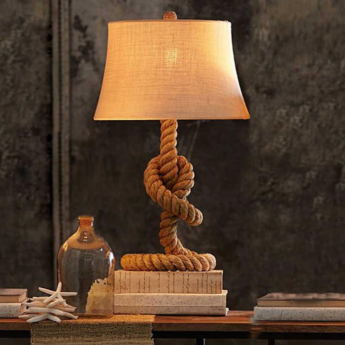 Американская сельская пеньковая веревка настольная лампа. Ретро настольная лампа прикроватная лампа для спальни, винтажная лампа для бара кафе