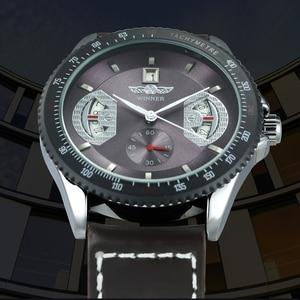 Image 2 - WINNER Reloj Automático oficial para hombre, correa de cuero, deportivo, de pulsera, mecánico, de negocios, informal