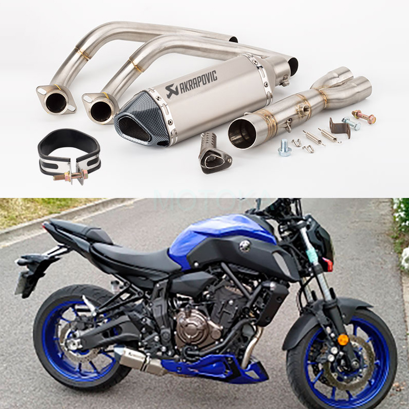 Slip on For Yamaha MT07 FZ07 2014 2019 MT 07 FZ 07 Tracer 2014 2018 XSR70 2016 2017 Motorcycle Akrapovic Exhausts Full System