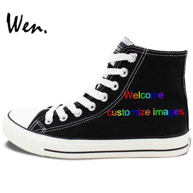 7965aee6ba21 Wen Customize Shoes Hand Painted High Top Black Shoes Offer Pictures You  Like to Design Accept