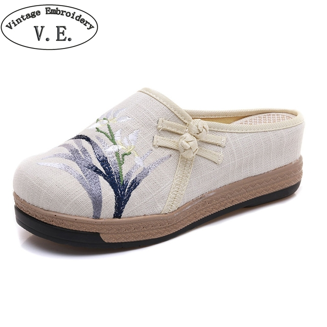 c793d5c6a97f Women High Heel Slippers Bamboo Embroidered Line Cotton Wedges Shoes Woman  Ethnic Mule Slippers Ladies Platform Shoes